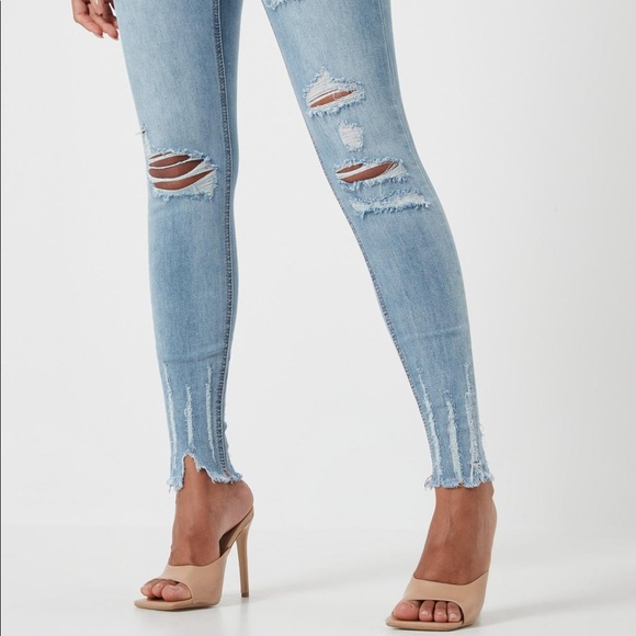 Sinner Distressed High Waist Skinny Jeans